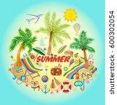 summer vacation design for... | Shutterstock . vector #600302054
