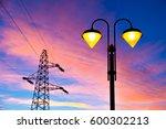 lit on streetlamp at sunset... | Shutterstock . vector #600302213