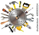 vector saw blade with tools | Shutterstock .eps vector #600303314