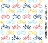 retro bike seamless pattern.... | Shutterstock .eps vector #600303344