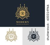 monogram design elements ... | Shutterstock .eps vector #600314966