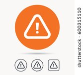 warning icon. attention... | Shutterstock . vector #600315110
