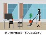 maid cleans and vacuums floor... | Shutterstock .eps vector #600316850