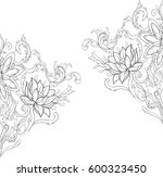 graphic sketch of lotuses in... | Shutterstock .eps vector #600323450