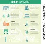 europe landmarks infographics... | Shutterstock .eps vector #600325988