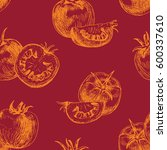 seamless pattern of tomato.... | Shutterstock .eps vector #600337610