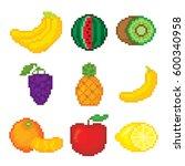 fruits icons set. pixel art.... | Shutterstock .eps vector #600340958