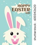 very happy easter bunny and egg ... | Shutterstock .eps vector #600342620
