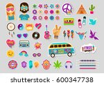hippie  bohemian design with... | Shutterstock .eps vector #600347738