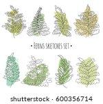 floral sketches set. vector... | Shutterstock .eps vector #600356714