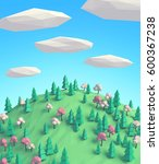 cartoon low poly sunny spring... | Shutterstock . vector #600367238