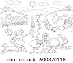 pasture sheep with a shepherd... | Shutterstock .eps vector #600370118