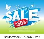 spring sale poster  vector... | Shutterstock .eps vector #600370490
