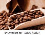 closeup of coffee beans... | Shutterstock . vector #600376034