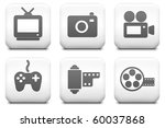 media icons on square black and ... | Shutterstock . vector #60037868