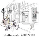series of street views in the... | Shutterstock .eps vector #600379190