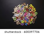 messy colorful alphabet as... | Shutterstock . vector #600397706