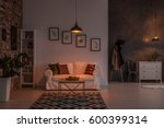 open living room with couch ... | Shutterstock . vector #600399314
