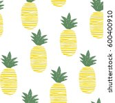 the yellow lines pineapple... | Shutterstock .eps vector #600400910