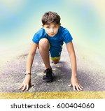 teen handsome boy in sport... | Shutterstock . vector #600404060