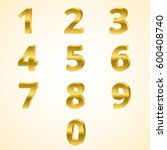 number 0 to 9 color gold 3d... | Shutterstock .eps vector #600408740