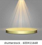 golden podium on a transparent... | Shutterstock .eps vector #600411668