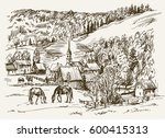 vintage view of new england... | Shutterstock .eps vector #600415313