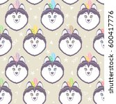 seamless pattern with character ... | Shutterstock .eps vector #600417776