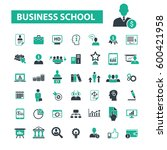 business school icons  | Shutterstock .eps vector #600421958