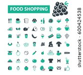 food shopping icons   Shutterstock .eps vector #600424538