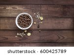 chocolate balls in white bowl... | Shutterstock . vector #600425789