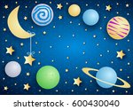 sky by night with moon  planets ...   Shutterstock .eps vector #600430040