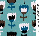 simple and fun floral pattern.... | Shutterstock .eps vector #600430358