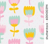 simple and fun floral pattern.... | Shutterstock .eps vector #600430394