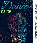 illustration of dancing couple. ... | Shutterstock .eps vector #600438560