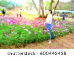 Blurred People Enjoy In Flower...