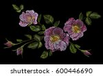 wild pink rose embroidery... | Shutterstock .eps vector #600446690