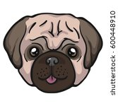 pug dog icon isolated on white...   Shutterstock .eps vector #600448910