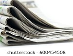 newspapers folded and stacked... | Shutterstock . vector #600454508