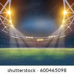 stadium in lights and flashes... | Shutterstock . vector #600465098