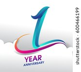 1 years anniversary celebration ... | Shutterstock .eps vector #600466199
