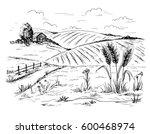 rural landscape field wheat in... | Shutterstock .eps vector #600468974
