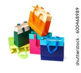 stack of colorful shopping or... | Shutterstock . vector #600468989
