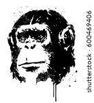 vector ape portrait with grunge ... | Shutterstock .eps vector #600469406