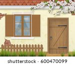 facade of the old building in... | Shutterstock .eps vector #600470099