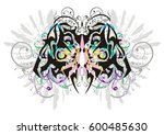 decorative butterfly with gray... | Shutterstock .eps vector #600485630