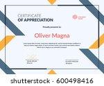 certificate of appreciation... | Shutterstock .eps vector #600498416