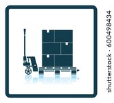hand hydraulic pallet truc with ... | Shutterstock .eps vector #600498434