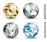 set of 4 disco balls | Shutterstock .eps vector #600503444