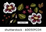 beautiful flowers embroidery... | Shutterstock .eps vector #600509234